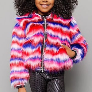 Mia New York Faux Fur Girls Jacket Winter 8 10 12